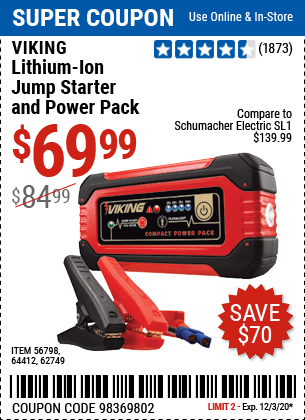 Harbor Freight Tools Coupons, Harbor Freight Coupon, HF Coupons-VIKING Lithium Ion Jump Starter and Power Pack for $69.99