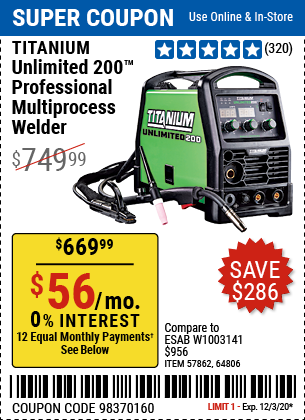 Harbor Freight Tools Coupons, Harbor Freight Coupon, HF Coupons-TITANIUM Unlimited 200 Professional Multiprocess Welder With 120/240 Volt Input for $669.99