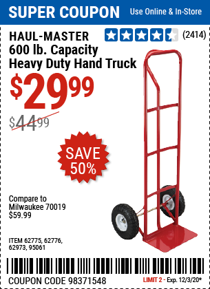 Harbor Freight Tools Coupons, Harbor Freight Coupon, HF Coupons-HAUL-MASTER 600 Lbs. Capacity Heavy Duty Hand Truck for $29.99