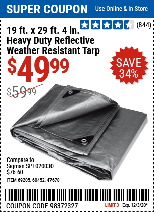 Harbor Freight Tools Coupons, Harbor Freight Coupon, HF Coupons-HFT 19 ft. x 29 ft. 4 in. Silver/Heavy Duty Reflective All Purpose/Weather Resistant Tarp for $49.99