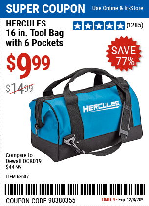 Harbor Freight Tools Coupons, Harbor Freight Coupon, HF Coupons-HERCULES 16 In. Tool Bag With 6 Pockets for $9.99