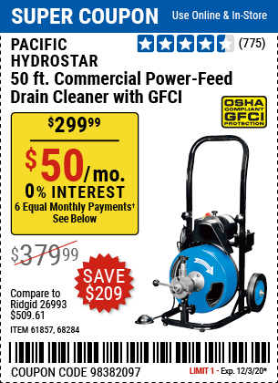 Harbor Freight Tools Coupons, Harbor Freight Coupon, HF Coupons-PACIFIC HYDROSTAR 50 Ft. Commercial Power-Feed Drain Cleaner with GFCI for $299.99