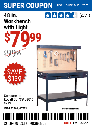 Harbor Freight Tools Coupons, Harbor Freight Coupon, HF Coupons-48 In. Workbench with Light for $79.99