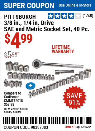 Harbor Freight Tools Coupons, Harbor Freight Coupon, HF Coupons-PITTSBURGH 40 Pc 3/8 in. 1/4 in. Drive SAE & Metric Socket Set for $4.99
