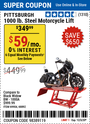 Harbor Freight Tools Coupons, Harbor Freight Coupon, HF Coupons-PITTSBURGH 1000 lb. Steel Motorcycle Lift for $349.99