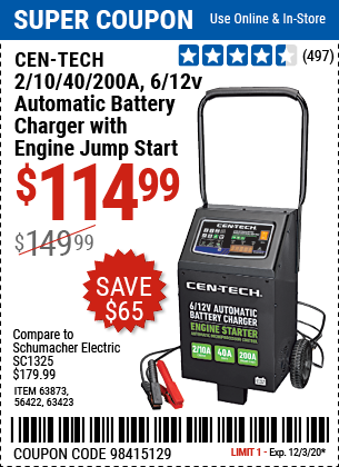 Harbor Freight Tools Coupons, Harbor Freight Coupon, HF Coupons-CEN-TECH 2/10/40/200 Amp 6/12V Automatic Battery Charger with Engine Jump Start for $114.99