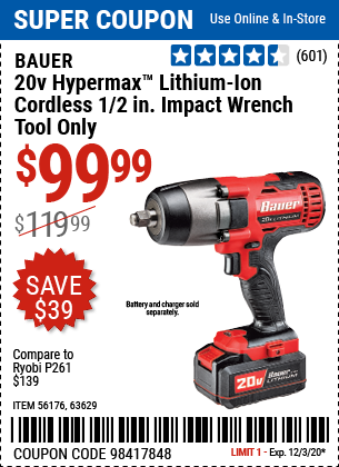 Harbor Freight Tools Coupons, Harbor Freight Coupon, HF Coupons-BAUER 20V Hypermax Lithium 1/2 In. Impact Wrench for $99.99