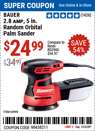 Harbor Freight Tools Coupons, Harbor Freight Coupon, HF Coupons-BAUER 2.8 Amp 5 in. Random Orbital Palm Sander for $24.99