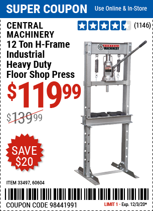 Harbor Freight Tools Coupons, Harbor Freight Coupon, HF Coupons-CENTRAL MACHINERY 12 ton H-Frame Industrial Heavy Duty Floor Shop Press for $119.99
