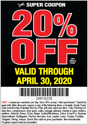 Harbor Freight Tools Coupons, Harbor Freight Coupon, HF Coupons-20% Off Any Single Item at Harbor Freight through April 30, 2020