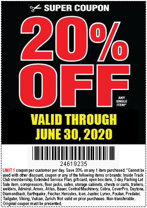 Harbor Freight Tools Coupons, Harbor Freight Coupon, HF Coupons-20% Off Any Single Item at Harbor Freight through June 30, 2020