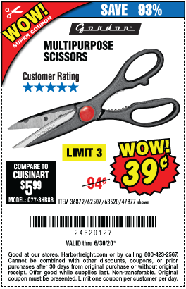 Harbor Freight Tools Coupons, Harbor Freight Coupon, HF Coupons-39� for Gordon Multipurpose Scissors
