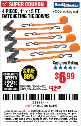 Harbor Freight Tools Coupons, Harbor Freight Coupon, HF Coupons-HAUL-MASTER 1 In. X 15 Ft. Ratcheting Tie Downs 4 Pk for $6.99