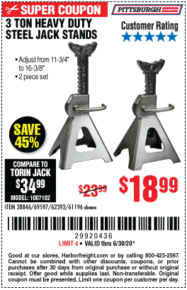 Harbor Freight Tools Coupons, Harbor Freight Coupon, HF Coupons-PITTSBURGH AUTOMOTIVE 3 Ton Steel Jack Stands for $18.99