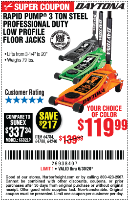 Harbor Freight Tools Coupons, Harbor Freight Coupon, HF Coupons-DAYTONA 3 Ton Low Profile Steel Professional Floor Jack With Rapid Pump for $119.99