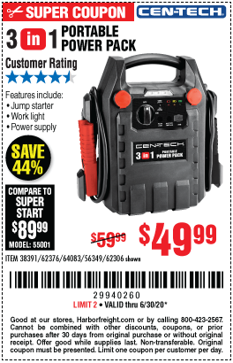 Harbor Freight Tools Coupons, Harbor Freight Coupon, HF Coupons-CEN-TECH 3-In-1 Portable Power Pack With Jump Starter for $49.99