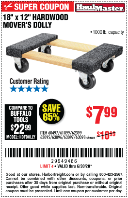 Harbor Freight Tools Coupons, Harbor Freight Coupon, HF Coupons-HAUL-MASTER 18 In. X 12 In. 1000 Lb. Capacity Hardwood Dolly for $7.99