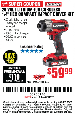 Harbor Freight Tools Coupons, Harbor Freight Coupon, HF Coupons-BAUER 20V Hypermax Lithium 1/4 In. Hex Compact Impact Driver Kit for $59.99