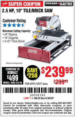 Harbor Freight Tools Coupons, Harbor Freight Coupon, HF Coupons-CHICAGO ELECTRIC 2.5 HP 10 In. Tile/Brick Saw for $239.99
