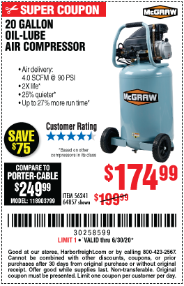 Harbor Freight Tools Coupons, Harbor Freight Coupon, HF Coupons-MCGRAW 20 Gallon 1.6 HP 135 PSI Oil Lube Vertical Air Compressor for $174.99