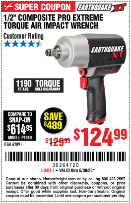 Harbor Freight Tools Coupons, Harbor Freight Coupon, HF Coupons-EARTHQUAKE XT 1/2 in. Composite Xtreme Torque Air Impact Wrench for $124.99