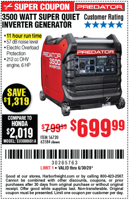 Harbor Freight Tools Coupons, Harbor Freight Coupon, HF Coupons-PREDATOR 3500 Watt Super Quiet Inverter Generator for $699.99