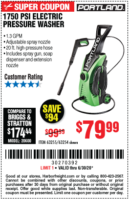 Harbor Freight Tools Coupons, Harbor Freight Coupon, HF Coupons-PORTLAND 1750 PSI 1.3 GPM Electric Pressure Washer for $79.99