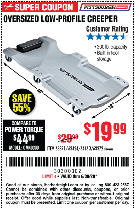 Harbor Freight Tools Coupons, Harbor Freight Coupon, HF Coupons-PITTSBURGH AUTOMOTIVE 40 in. 300 Lbs. Capacity Low-Profile Creeper for $19.99