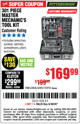 Harbor Freight Tools Coupons, Harbor Freight Coupon, HF Coupons-PITTSBURGH 301 Pc Mechanic's Tool Set for $169.99