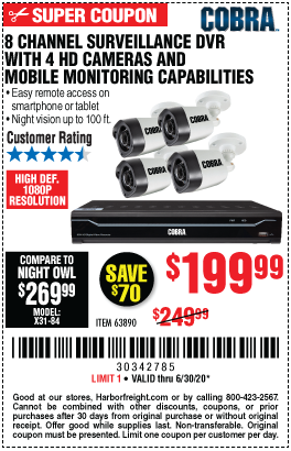 Harbor Freight Tools Coupons, Harbor Freight Coupon, HF Coupons-COBRA 8 Channel Surveillance DVR With 4 HD Cameras for $199.99