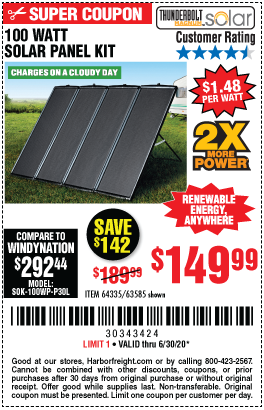 Harbor Freight Tools Coupons, Harbor Freight Coupon, HF Coupons-THUNDERBOLT MAGNUM SOLAR 100 Watt Solar Panel Kit for $149.99