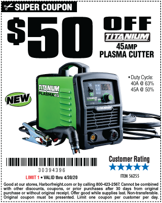 Harbor Freight Tools Coupons, Harbor Freight Coupon, HF Coupons-$50 Off: Titanium 45AMP Plasma Cutter