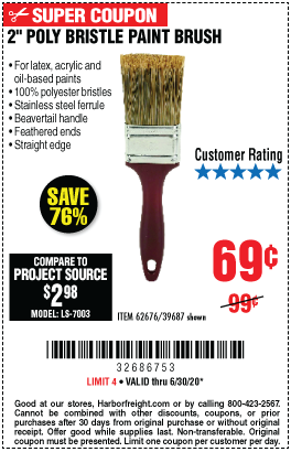 Harbor Freight Tools Coupons, Harbor Freight Coupon, HF Coupons-KRAUSE & BECKER 2 in. Professional Paint Brush for $0.69