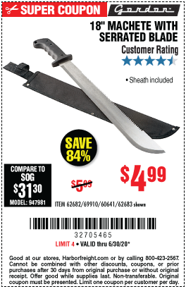 Harbor Freight Tools Coupons, Harbor Freight Coupon, HF Coupons-GORDON 18 In. Machete With Serrated Blade for $4.99