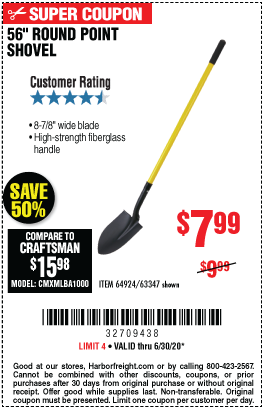Harbor Freight Tools Coupons, Harbor Freight Coupon, HF Coupons-ONE STOP GARDENS 56 in. Round Point Shovel for $7.99
