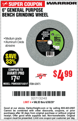 Harbor Freight Tools Coupons, Harbor Freight Coupon, HF Coupons-WARRIOR 6 in. General Purpose Bench Grinding Wheel for $4.99