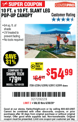 Harbor Freight Tools Coupons, Harbor Freight Coupon, HF Coupons-COVERPRO 10 Ft. X 10 Ft. Pop-Up Canopy for $54.99