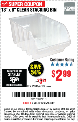 Harbor Freight Tools Coupons, Harbor Freight Coupon, HF Coupons-STOREHOUSE Clear Stacking Bin for $2.99