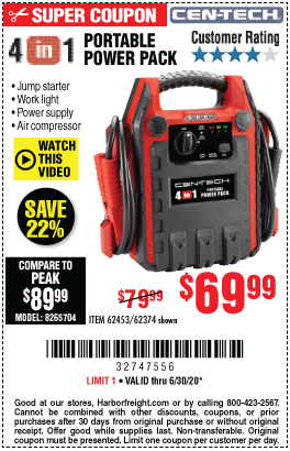 Harbor Freight Tools Coupons, Harbor Freight Coupon, HF Coupons-CEN-TECH 4-in-1 Portable Power Pack with Jump Starter for $69.99