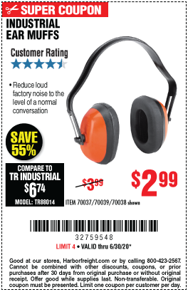 Harbor Freight Tools Coupons, Harbor Freight Coupon, HF Coupons-WESTERN SAFETY Industrial Ear Muffs for $2.99