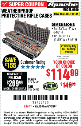 Harbor Freight Tools Coupons, Harbor Freight Coupon, HF Coupons-APACHE 9800 Weatherproof Protective Rifle Case for $114.99