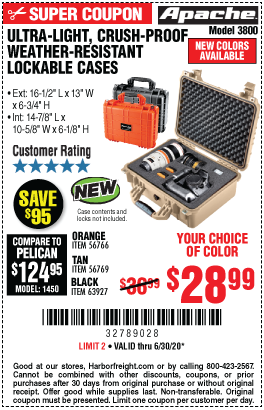 Harbor Freight Tools Coupons, Harbor Freight Coupon, HF Coupons-APACHE 3800 Weatherproof Protective Case for $28.99