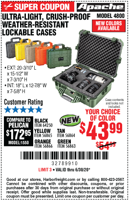 Harbor Freight Tools Coupons, Harbor Freight Coupon, HF Coupons-APACHE 4800 Weatherproof Protective Case for $43.99