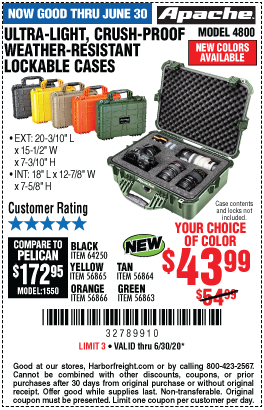 Harbor Freight Tools Coupons, Harbor Freight Coupon, HF Coupons-NEW Colors! - Apache Weather-Resistant Lockable Cases
