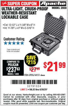 Harbor Freight Tools Coupons, Harbor Freight Coupon, HF Coupons-APACHE 2800 Weatherproof Protective Case for $21.99