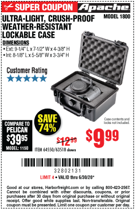 Harbor Freight Tools Coupons, Harbor Freight Coupon, HF Coupons-APACHE 1800 Weatherproof Protective Case for $9.99