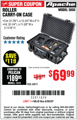 Harbor Freight Tools Coupons, Harbor Freight Coupon, HF Coupons-APACHE 5800 Weatherproof Protective Rolling Carry-On Case (X-Large) for $69.99