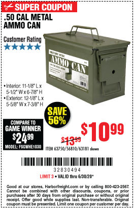 Harbor Freight Tools Coupons, Harbor Freight Coupon, HF Coupons-.50 Cal Metal Ammo Can for $10.99
