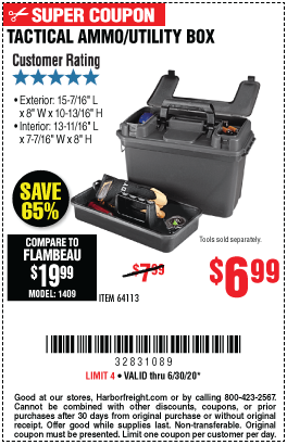 Harbor Freight Tools Coupons, Harbor Freight Coupon, HF Coupons-Tactical Ammo/Utility Box for $6.99
