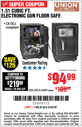 Harbor Freight Tools Coupons, Harbor Freight Coupon, HF Coupons-UNION SAFE COMPANY 1.51 cu. ft. Electronic Lock Gun Floor Safe for $94.99